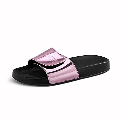 Heart Color Velcro Pu Plana la Solid las Zapatillas de sandalias amp;M plana de Pink manera de suela mujeres talón Letters zzZ5rqTnw