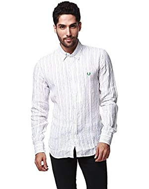 Green Label Men's White Tunics Long Sleeve Button Down Shirt