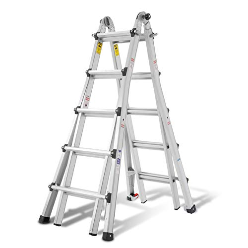 Aluminum Extension Ladder, 300 lb Duty Rating (Load Capacity Type IA) Model 22-Foot Durable and Multi-Purpose Ladder with Two Wheels