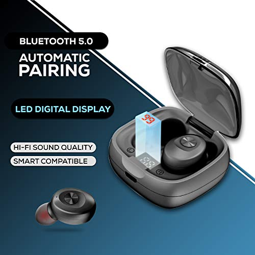 WeCool Moonwalk M1 True Wireless Earbuds (TWS) IPX 5 and Digital Display Charging Case, Bluetooth Earphones with Mic for Calls and HD Stereo Music