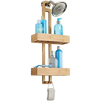 this item mdesign bathroom shower caddy for shampoo conditioner soap natural bamboo