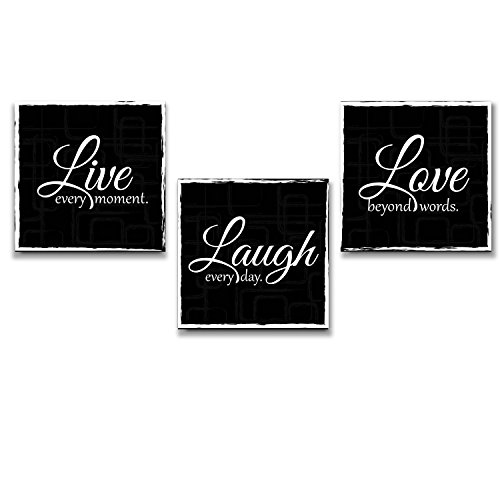 wall26 Live Laugh Love - 3 Piece Canvas Print - Wall Art Decor - Gallery Wrap Panels on Wooden Stretcher Bars - Colorful Design for Home - Beautiful Quote - Ready to Hang Black and White