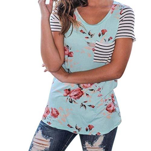 Tshirt Impression Floraux Chic Shirt Tee Haut Avant Femme Gr Mode Casual T Shirt Rond Poches Blouse Dame Col Rayures Courtes Et Chemise Costume Manches lgant wawZ6qU