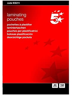 5 Star Laminating Pouches 250 Micron for Badge size Glossy 67x97mm Pack 100 Brand New