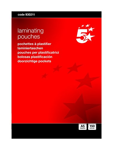 5 Star Laminating Pouches 150 micron for A5 Glossy Ref 5025 [Pack of 100] Spicers 930211
