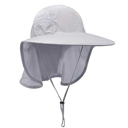 Lenikis Unisex Outdoor Activities UV Protecting Sun Hats with Neck Flap Grey