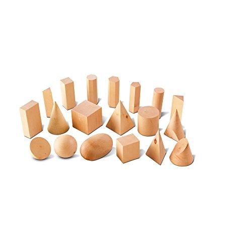 hand2mind Wood Geometric Solid Blocks, 3D Shapes (Set of 19) -