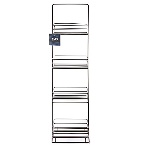 AMG and Enchante Accessories Free Standing Bathroom Spa Tower Storage Caddy, FC100002 ORB, Oil Rubbed Bronze - 4 Spacious Shelves to store towels, soap, tissue, books, wet wipes, perfume, makeup, and more! Free Standing design allows holder to be placed anywhere on your counter, perfect for small bathrooms , large bathrooms, apartments, or dorms. Conveniently fits into corners to maximize efficiency. - shelves-cabinets, bathroom-fixtures-hardware, bathroom - 41XriOY8G%2BL -