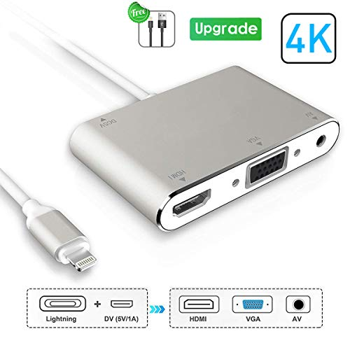 HDMI VGA AV Adapter Converter, 2019 Latest 4 in 1 Plug and Play Digtal AV Adapter Compatible for iPhone X / 8 / 8Plus/7/7Plus/6/6s/6s Plus/5/5s iPad iPod to Projector HDTV Projector Monitor (Silver) (5s Projector Iphone)