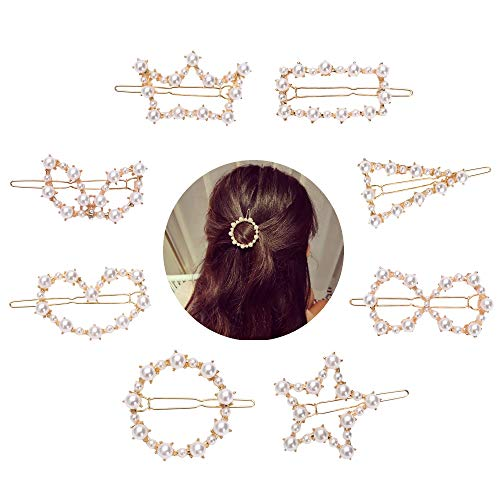 8 Pack Gold Vintage Retro Geometric Minimalist Fancy Danity Pearl Metal Hair Clip Pin With Teeth Snap Barrette Claw Clamp Bobby Pins Alligator Hairpins Wedding Party Decoration Ornament Accessories ()
