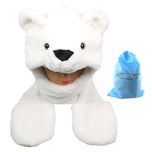 Polar Bear Baby Halloween Costume (Silver Fever Plush Soft Animal Beanie Hat with Built-in Earmuffs, Scarf, Gloves (Polar Bear))