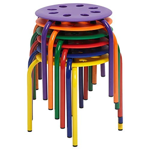 ECR4Kids Berry Patch Plastic Stack Stools 6-Pack, Portable Round Nesting Seats for Schools, Offices and Homes, 12'' (Set of 6)