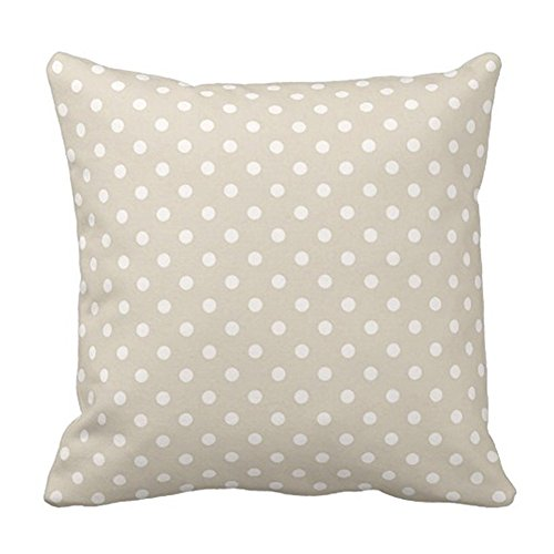 SPXUBZ Polka Dots Cream Beige Neutral Colors Pillow Cover Decorative Home Decor Nice Gift Square Indoor/Outdoor Pillowcase Size: 18x18 Inch(Two Sides)