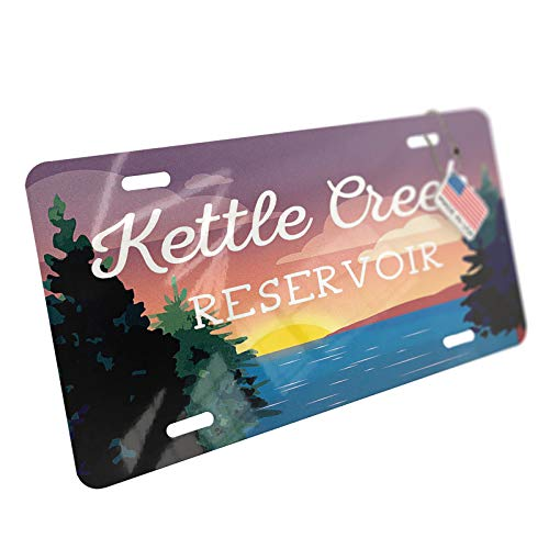 NEONBLOND Lake Retro Design Kettle Creek Reservoir Aluminum License Plate