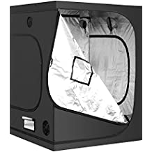 "iPower 60""x60""x78"" 5'x5' Hydroponic Mylar Grow Tent with Observation Window, Tool Bag and Floor Tray for Grow Light and Indoor Plant Growing"