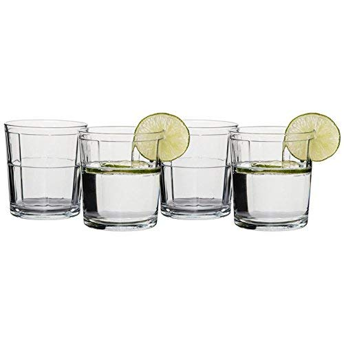 Circleware Pavillion Double Old Fashioned Whiskey Glasses, Set of 4, 13 ounce, Clear