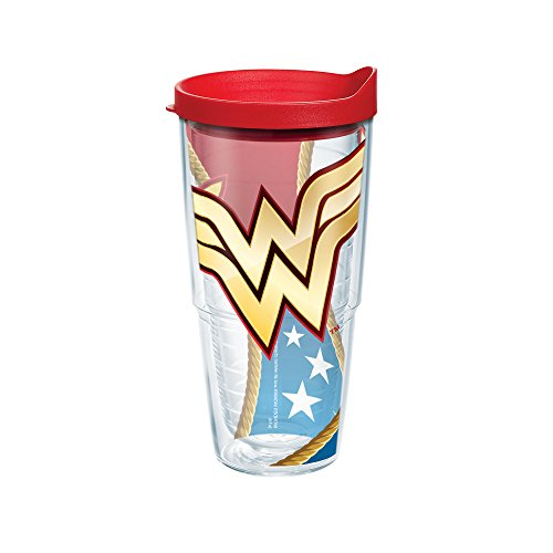 Tervis 1211924 Wonder Woman Colossal Tumbler with Wrap and Red Lid 24oz, Clear