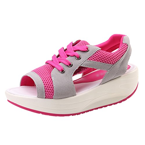 LINNUO Women Platform Sneakers Slip On Wedge Heel Lace up Sandals Breathable Peep Toe Sports Running Fitness Thick Bottom Shoes Rose