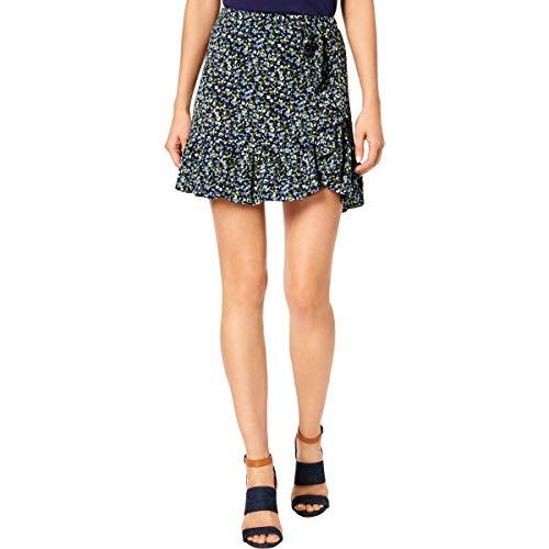 (Michael Michael Kors Womens Petites Floral Print Ruffled Mini Skirt Navy P)