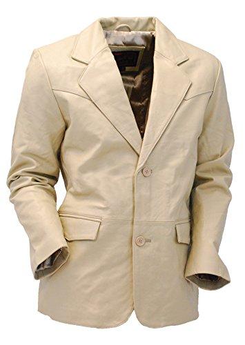 Button Lambskin Leather Blazer (Jamin' Leather Cream Beige Two Button Lambskin Leather Blazer (XL) #M1123BTT)