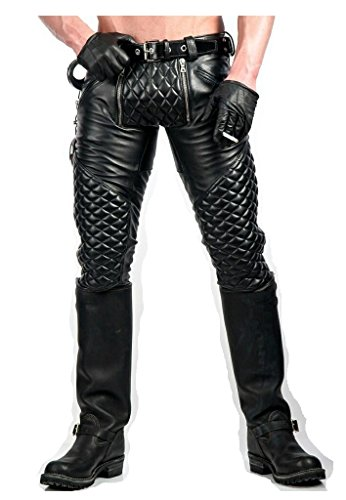 Four Pocket Mens Leather Pant / Quilted Design Leather Jeans Pant / Double Zipper Pants SouthBeachLeather (32-34)