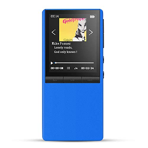 HOMMIE Bluetooth MP3 Player with Dual Headphones Jacks, 8GB HiFi Lossless Music Player Supports Up to 128GB, Blue