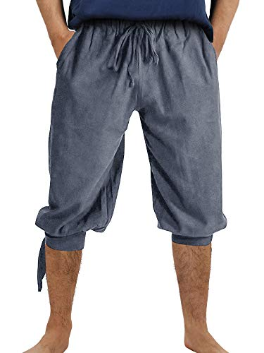 Makkrom Mens Ankle Banded Pants Medieval Pirate Costume