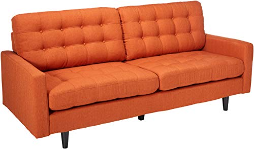 (Coaster Home Furnishings 505371 Living Room Sofa, Orange/Dark Brown)