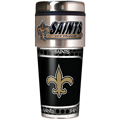 NFL New Orleans Saints Metallic Travel Tumbler, Stainless Steel and Black Vinyl, 16-Ounce