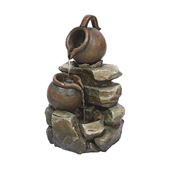 Water Fountain with LED Light - LaTaverna Water Jug Garden Decor Fountain - Outdoor Water Feature - WATER JUG GARDEN FOUNTAIN - Sure to be the crowning statement on your garden patio, multiple cascading streams of water flow over the rock fountain design to create an in-home oasis and peaceful, meditative atmosphere. Volts - 110 V SPARKLING LED LIGHTS - Enjoy our water feature LED fountain lights in the evening on your garden patio with the sparkling glow of low voltage LED lights. LOW MAINTENANCE OUTDOOR DECOR - Hand-cast using real crushed stone bonded with durable designer resin, our easy to set up water fountains require no additional plumbing and include adjustable UL approved, indoor outdoor fountain pumps. Just assemble, fill them with water to completely submerge the pump and plug it into a standard electrical outlet. Now enjoy the sounds of water music! - patio, outdoor-decor, fountains - 41Xrlx6F5gL. SS570  -