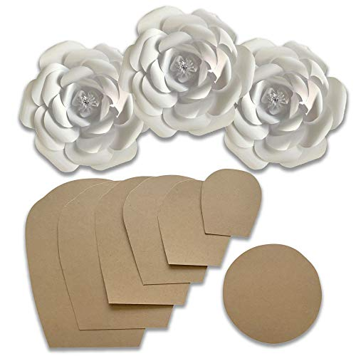 Paper Flower Template Kit - Make Your Own Paper Flowers - Paper Flowers Decoration - Make Unlimited Flowers - DIY Do It Yourself - Make All Sizes - Paper Mache Gold