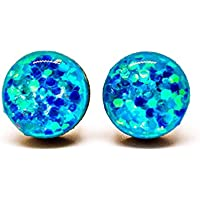 Stud Earrings, Aquarmarine Sparkle, 10 mm, Handmade, Stainless Steel Posts for Sensitive Ears, by Candi Cove Designs