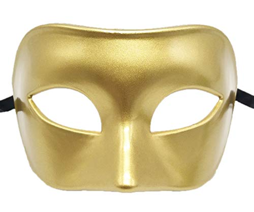 Coolwife Mens Masquerade Mask Greek Roman Party Mask Mardi Gras Halloween Mask (A Gold)