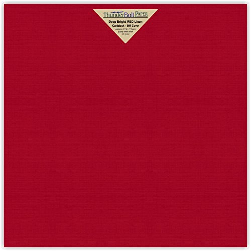25 Bright Red Linen 80# Cover Paper Sheets - 12