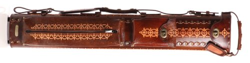 Instroke 3 Butt 7 Shaft Saddle Leather Cue Case Brown Hand Painted D05