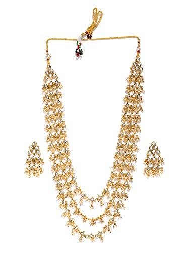 Zaveri Pearls Multi Layered Long Kundan & Dangling Pearls Necklace Set For Women-ZPFK8725