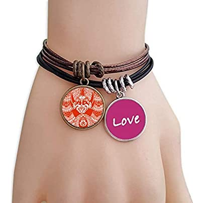 Metftus Red Beijing Opera Mask Paper-cut Love Bracelet Leather Rope Wristband Couple Set Estimated Price -