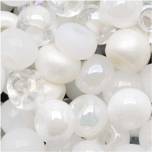 Czech Seed Beads 6/0 ''White Wedding'' White & Pearl Mix (1 -