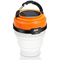 ECEEN Solar Camping Lights Collapsible & Rainproof USB Flashlight with Hanging Handle, Resistant Lamp for Hiking Fishing Indoor Outdoor SOS Emergency Etc Pocket Sized Portable LED Tent Light