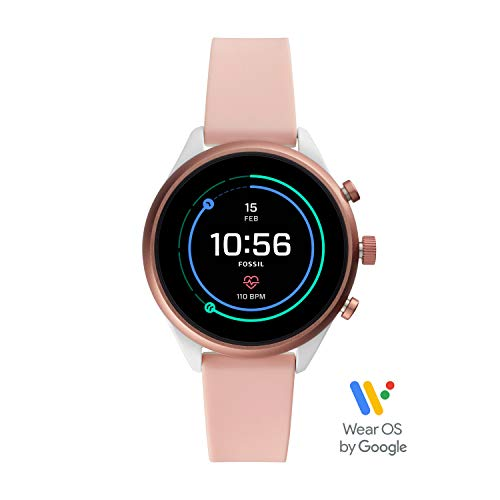 Fossil Women's Gen 4 Sport Heart Rate Metal and Silicone Touchscreen Smartwatch, Color:Blush Pink -
