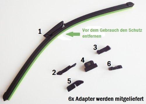 2mm Service Set 700 550 Mm Mit Adapter Für Citroen C5 Rd Gelenklose Scheibenwischer Bj Ab 04 08 Auto