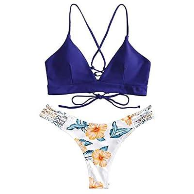 Steagoner Women's Bikini Set High Waist Lace Up Swimsuit Floral Printed Two Piece Tankini Bathing Sets: Clothing