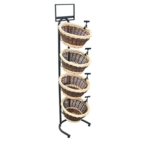 4-Tier 4 Round 2-Tone Willow Basket Display with Sign Frame and Sign Clips - Clip Round Tone