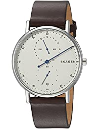 Skagen Men's 'Signatur' Quartz Stainless Steel and Leather Casual Watch, Color:Brown (Model: SKW6391)