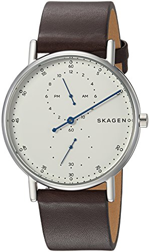 Skagen Men's 'Signatur' Quartz Stainless Steel and Leather Casual Watch, Color:Brown (Model: SKW6391) by Skagen