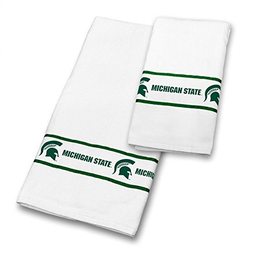 Michigan State Spartans COMBO Shower Curtain, 4 Pc Towel Set & 1 Window Valance - Decorate your Bathroom & SAVE ON BUNDLING! by Sports Coverage
