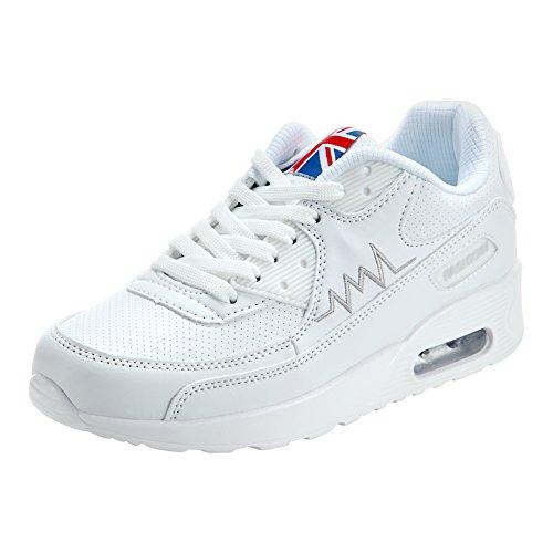 Blanco de y Padgene Mujer Zapatillas Correr Zapatos Deporte Deportes Viaje para Running Amortiguación de de Aire para Zapatos 4TqTSf