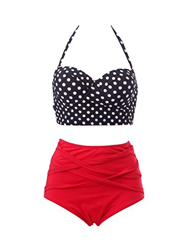 HDE Women's Retro Bikini High Waist Vintage Style Swimsuit 50's Pinup Bathing Suit (Black & Red, M)