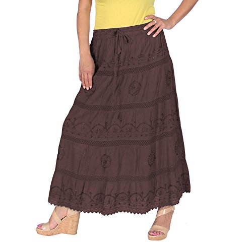 Cotton Embroidered Skirt (KayJayStyles Full Length Womens Solid Embroidered Gypsy Bohemian Long Cotton Skirt (Brown))