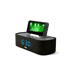 Tyler Bluetooth Alarm Clock Radio TAC501-BK with Stereo Speaker, FM Radio, USB Charging, AUX Line-in, Blue LED Display (0.6), and Smart Phone Dock | Black